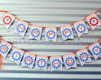 Robot Party Collection PRINTABLE Banner