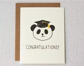 Graduation Card - Congratulations  - Panda in Grad Cap - Greeting Card