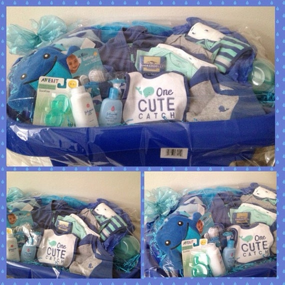 items similar to blue cute catch baby boy gift basket w tub on etsy. Black Bedroom Furniture Sets. Home Design Ideas