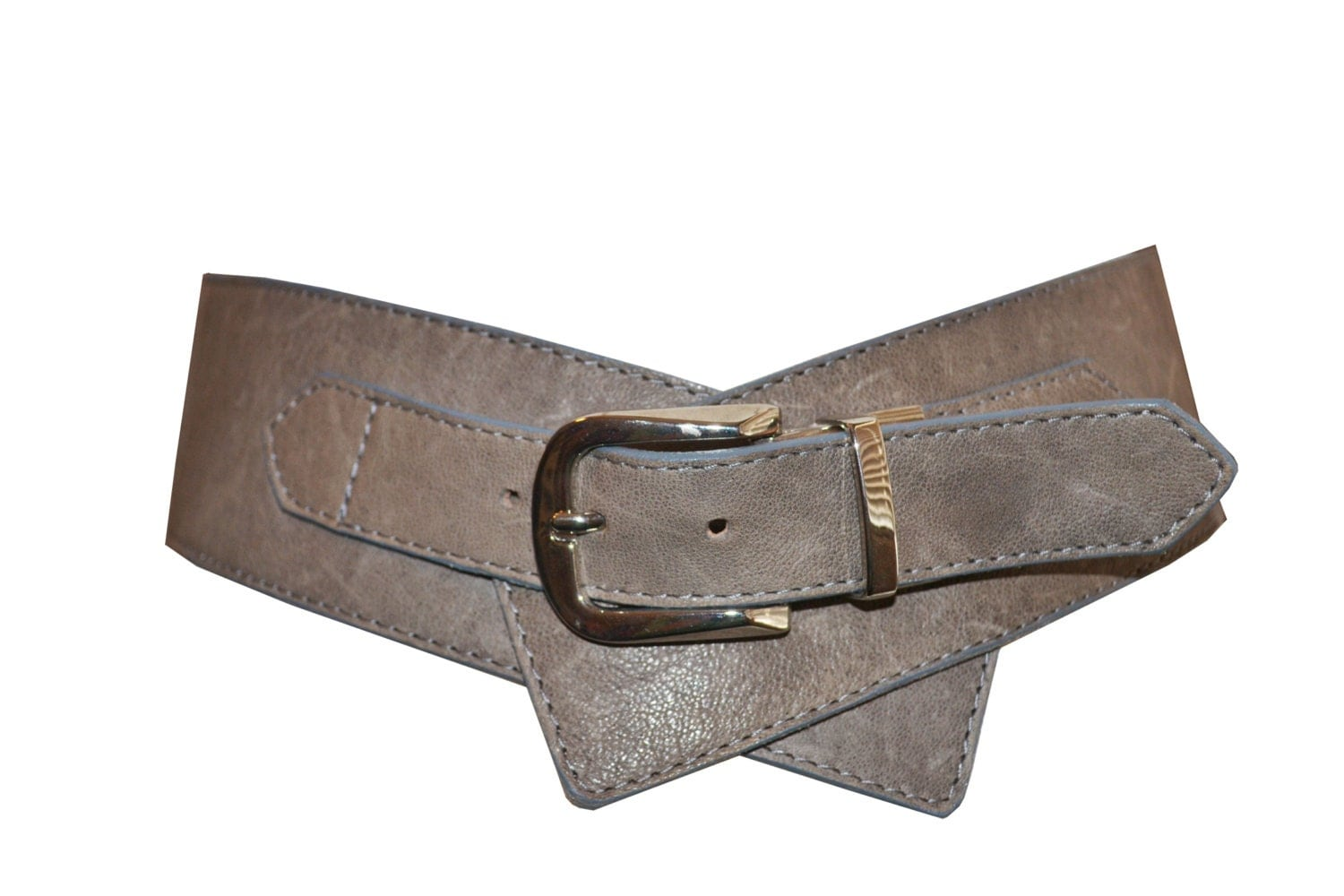 s leather waist belt grey leather with silver