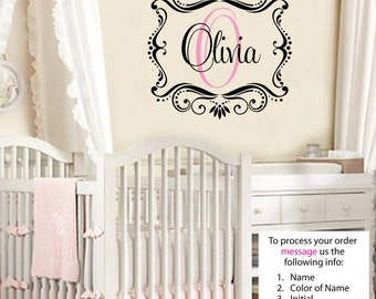 Childrens Decor Baby Nursery Wall Decal - Monogram Vinyl Wall Lettering Art Decal Olivia Wall Decal FREE SHIPPING