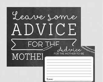 Baby Shower Advice Cards and Sign Printable Chalkboard Advice for Mom Cards - Printable Instant Download - Chalkboard Collection
