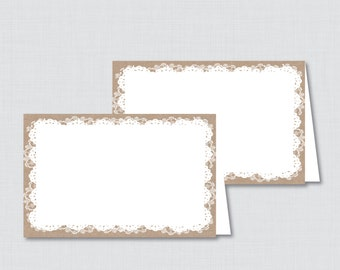 Printable Food Tent Labels Cards or Place Cards in Burlap Lace for Baby Shower, Bridal Shower, etc- Printable Instant Download - Burlap Lace