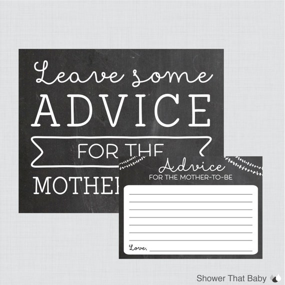 Baby Shower Tips For New Moms: Baby Shower Advice Cards And Sign Printable Chalkboard Advice