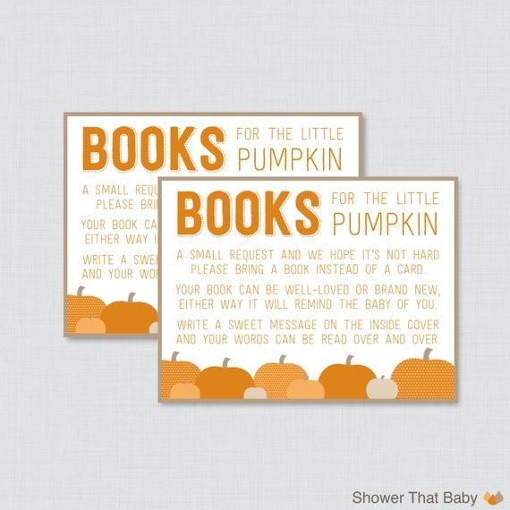 little pumpkin baby shower bring a book instead of a card invitation