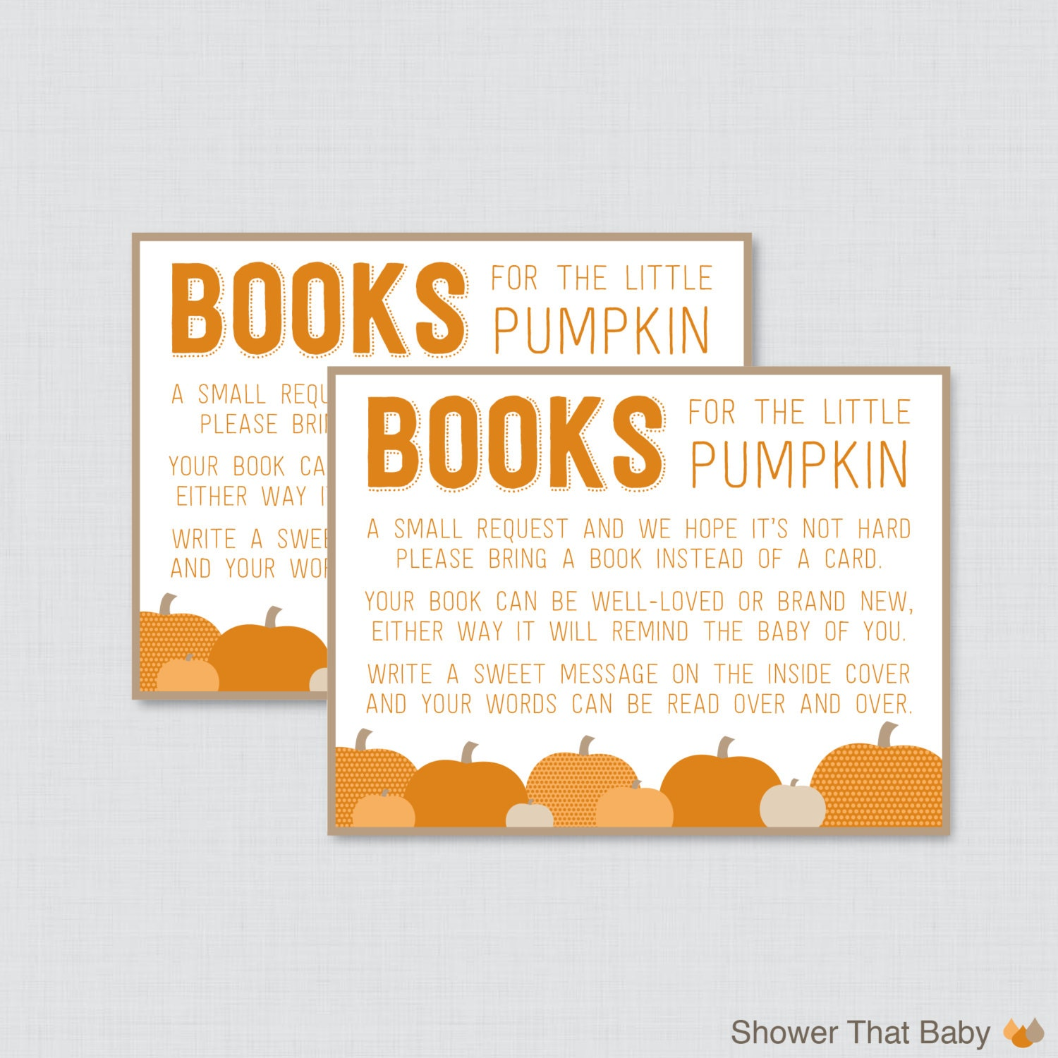 Little Pumpkin Baby Shower Bring a Book Instead of a Card