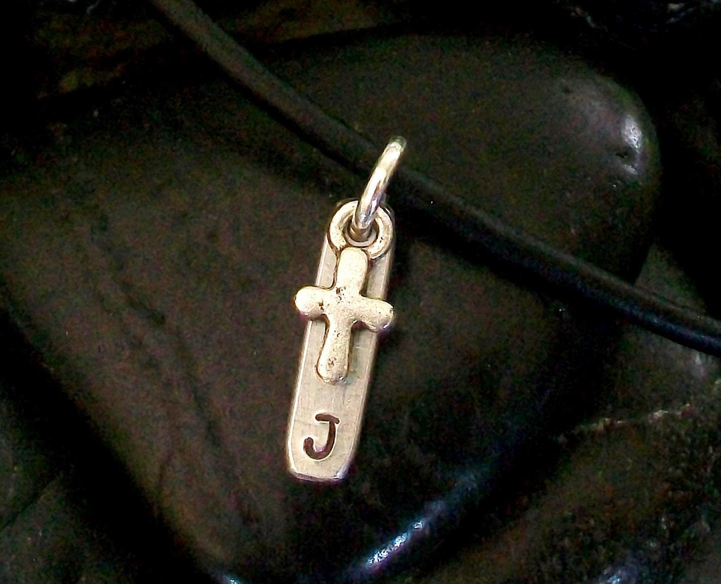 boys tiny cross necklace custom initial communion