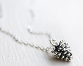 Tiny Pinecone Charm Necklace -Woodland fall leaves trees pinecone forest Charm Necklace Pendant