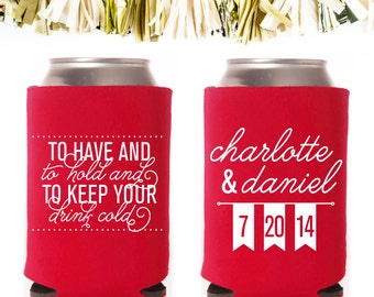 To Have and To Hold and To Keep Your Drink Cold Wedding Favors: Custom and Personalized Can Cooler // Flags