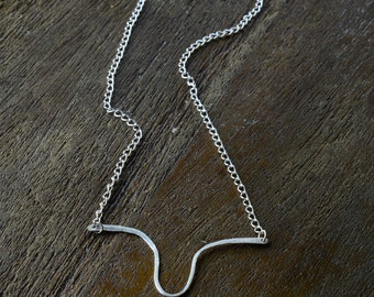 Abstract Silver Wire Necklace II,  Delicate Necklace, Simple Necklace