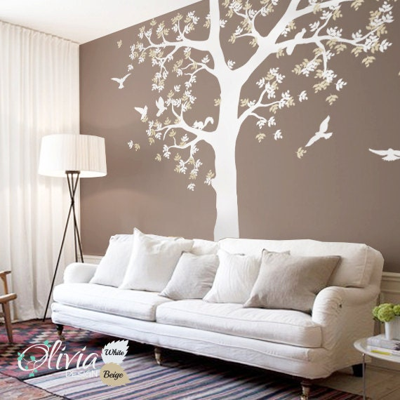 Large White Tree Wall Vinyl Decal With Birds and Squirrels