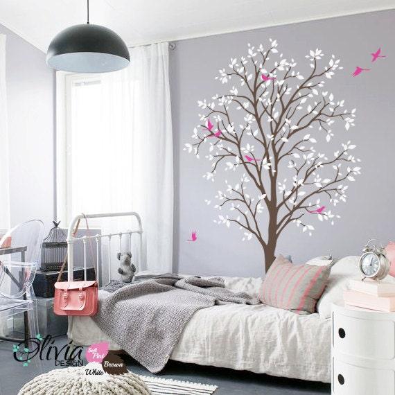 baby kinderzimmer baum fr hling vinyl wand aufkleber. Black Bedroom Furniture Sets. Home Design Ideas
