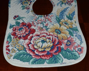 Baby Bib, Quilted Baby Bib Reversible BabyBib,Toddler Bib, Baby Gift, Floral Bib, Ready to ship