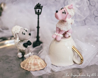 Custom wedding cake topper. Lovely Poodles