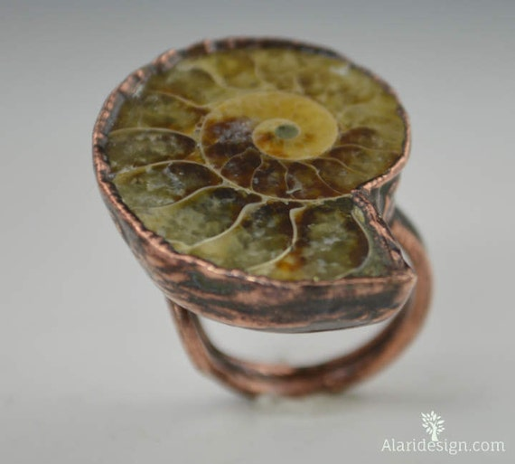 Ammonite Ring // Fossil Ammonite Ring // Fossil Ring // Electroformed // Ammonite Jewelry // Gemstone Ring // Wearable Art // Statement Ring