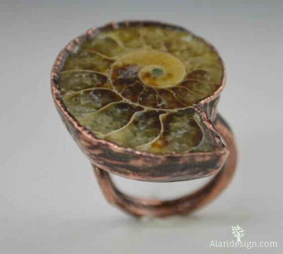 Ammonite Ring // Fossil Ammonite Ring // Fossil Ring // Electroformed // Ammonite Jewelry // Gemstone Ring // Wearable Art // Statement Ring