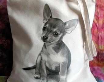 Chichuachua Art Cotton Tote Bag, Dog Art, Pet Drawing, Pet Gift, Chichuachua Tote Bag