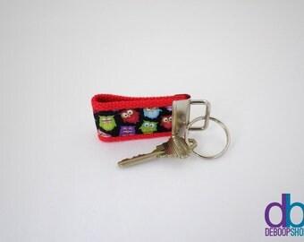 Red Owl Ribbon Mini Keychain
