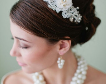 NORA Organza Floral Bridal Headpiece, Lace and Crystal Details