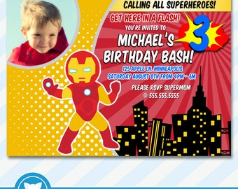 Superhero Invitation for IronMan Birthday Party, IronMan Birthday Invitation- Printable Digital File