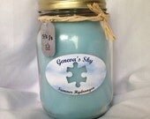 Hydrangea jar Candle.FREE SHIPPING 16 Ounce Jar Candle. Autism Awareness