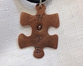 Autism necklace - autism jewelry free shipping. Copper  awareness puzzle piece hand stamped with hope .