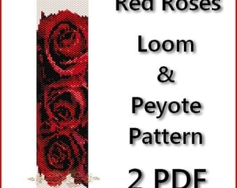 Red Roses Peyote and Loom Pattern Beading - Tutorial 2 PDF - instant download