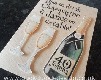 """Personalised Greeting Card """"Time to drink champagne...."""""""