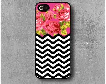 IPhone 5 / 5s / SE Case Zig Zag Pink Flowers Chevrons