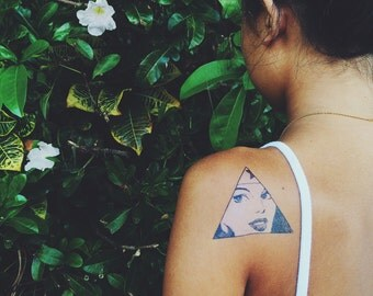 Wonder Woman Triangle Portrait Temporary Tattoo