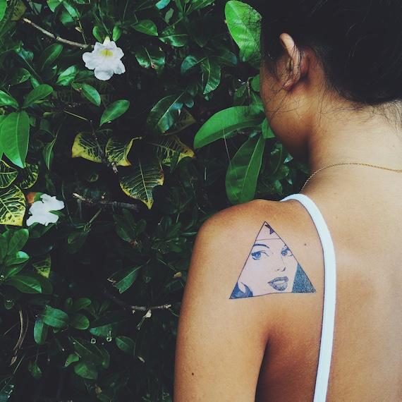 Wonder woman triangle portrait temporary tattoo for Wonder woman temporary tattoo
