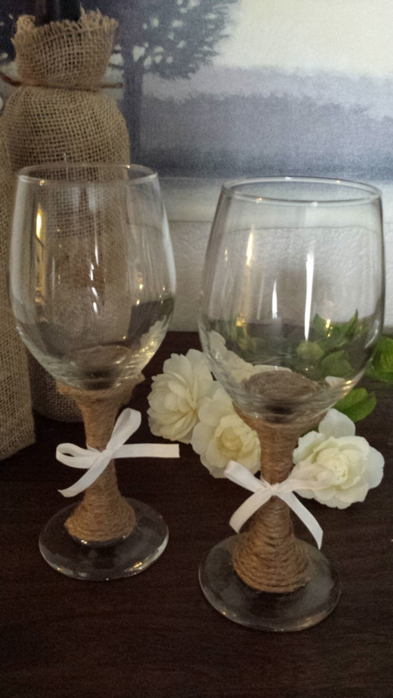 Items Similar To Set Of 2 Rustic Wine Glasses Twine