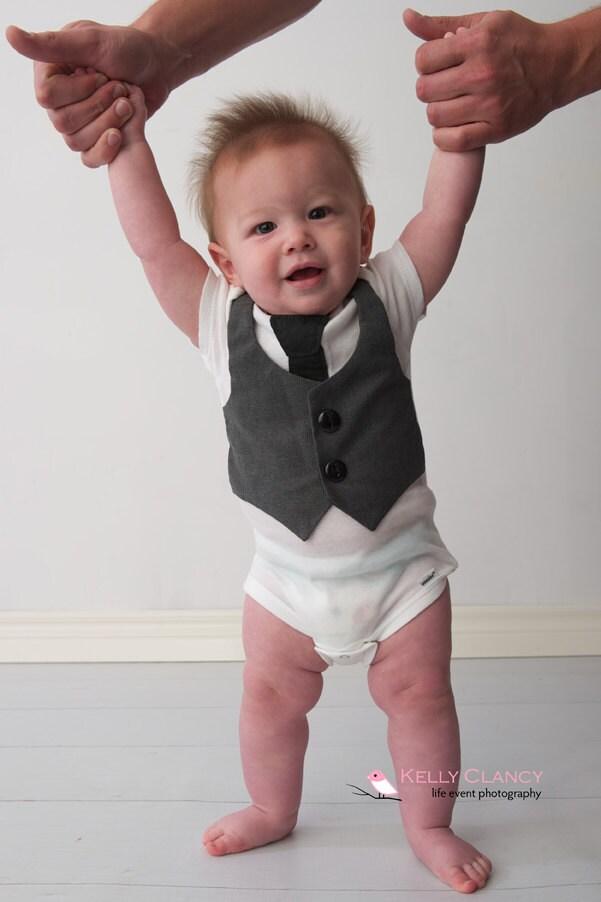 Baby Vest and Tie Gray Boys esie Newborn Clothes Baby