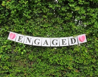 Pink Engaged Sign / Engaged Banner/ Engagement Banner/ Wedding Banner / Wedding Sign / Engaged Sign