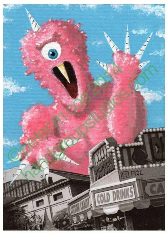 "Detroit Kaiju Cotton Candy Monster 5x7 Print ""Mushiba at the Fair"" Original Art Print by Pete Coe"