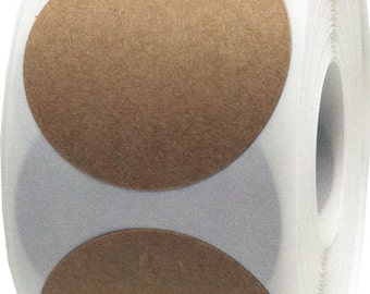 500 Natural Kraft Paper Adhesive Labels - 2.5 Inch Round Stickers