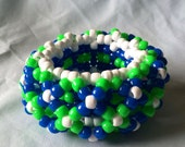 Edm Festival 3D Kandi Cuff Green,Blue, & White