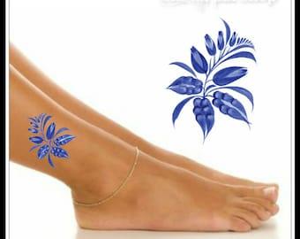 Temporary tattoo waterproof flower ultra thin realistic fake for Realistic temporary tattoos