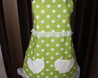 Green and White Polka Dot Flirty Apron with Two Heart Shaped Pockets