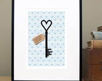 Nieuwe Home gepersonaliseerde Gift, House Warming Gift, Is Home Where The Heart Is, sleutel, spreekwoord, citeer Print, Inwijdingsfeest Gift-gratis VK levering
