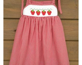 Strawberry Smocked Shoulder Tie Sundress