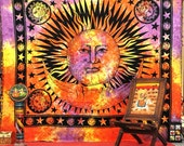 Sun Tapestry, Sun and Moon Hippie tapestries Wall hanging, Indian God Sun Wall hanging, Queen Bedding, Bohemian Bedcover, Blanket/Throw
