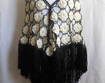 Crochet Shawl, Triangle Shawl, Cream, Black
