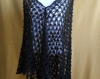 Crochet Shawl, Triangle Shawl, Black