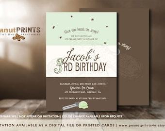 Ice Cream Birthday Party Invitation - Printed OR Digital File - by peanutPRINTS