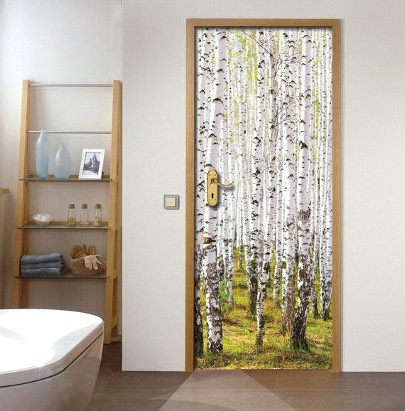 wall decal door sticker birch forest by fromeuwithlove on etsy wall and door stickers posters murals wallpapers