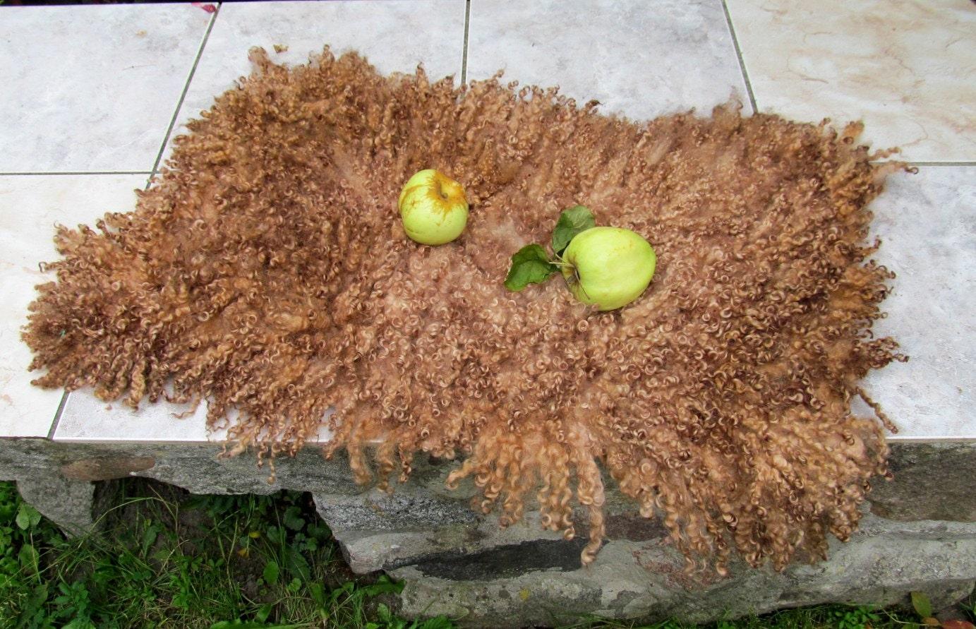 Felt Fur Rug Mat Fleece Beige Real Wool Hand Felted By Feltfur