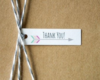 Thank You Arrow Tag, Bridal Shower Tag, Wedding Favor Tag, Chic Party Favors, Baby Shower Tag, You choose the colors