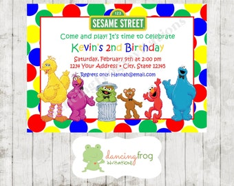 Sesame Birthday Invitations - Printed Sesame Birthday Invitations by Dancing Frog Invitations