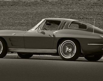 Chevy Corvette C2 Left Side Red Wide Aspect HD Poster Classic Muscle Car B&W Print